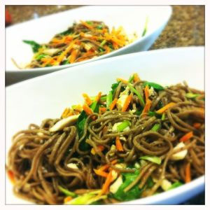 soba noodles tossed with green tea salt