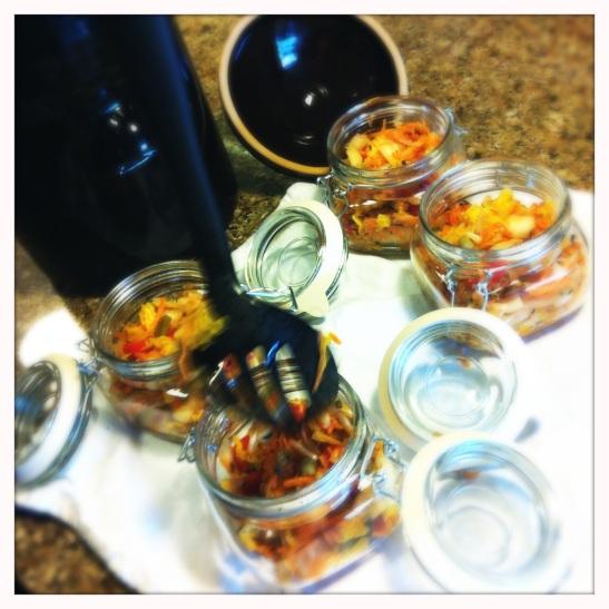 jarring pu-erh kimchi