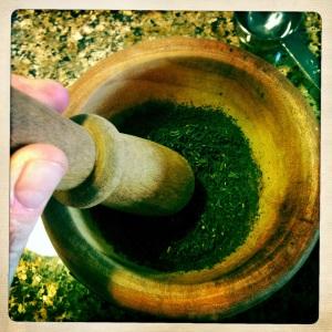 grinding lapsang souchong tea
