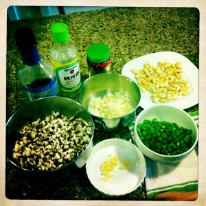 preparing tea mushroom egg roll ingredients