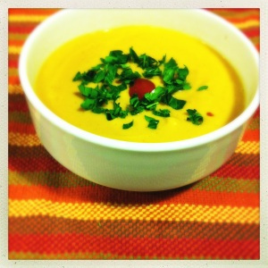 ginger-infused sweet potato coconut soup