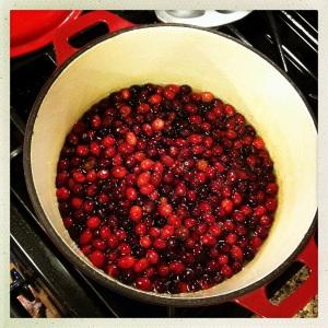 小火炖蔓越莓直到它们爆开