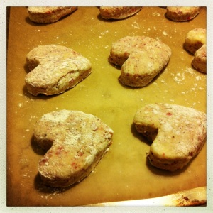 baking heart-shaped scones
