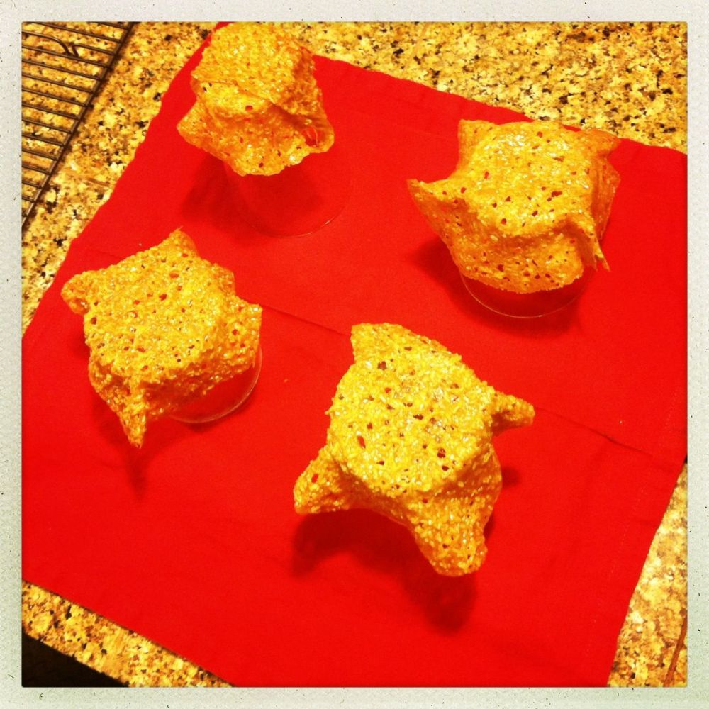 coconut tuiles cooking over glasses