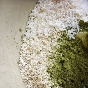 oats, coconut and matcha