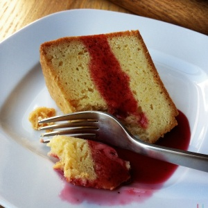 pound cake with blackberry tea syrup