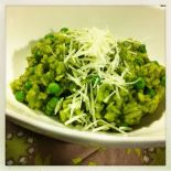 parsley, pea and green tea risotto