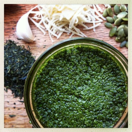 fresh herb and green tea pesto