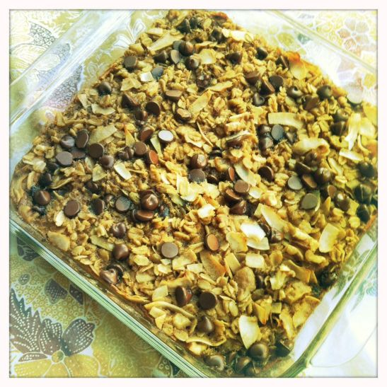 chocolate chip tea baked oatmeal