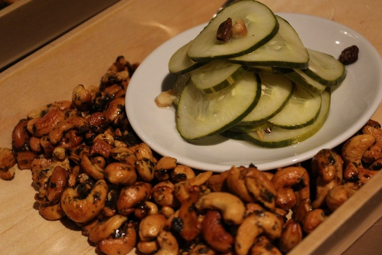 tea brined pickles and tea glazed nuts