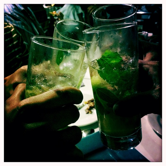 cheers with moroccan mint mojitos
