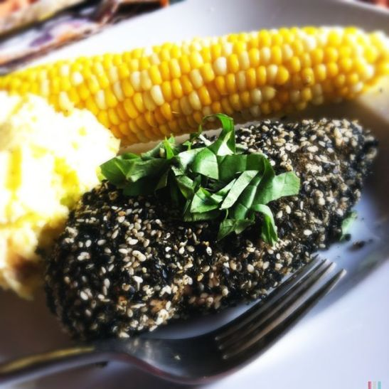 sesame oolong crusted chicken with sweet corn