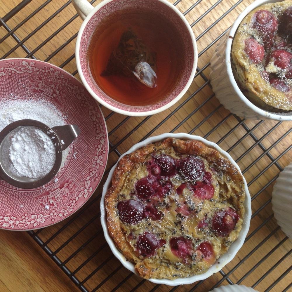 cherry clafoutis with earl grey