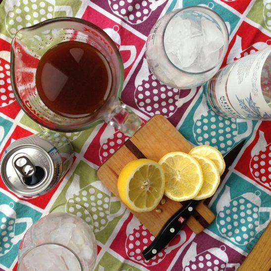 ginger lemon honey cocktail prep
