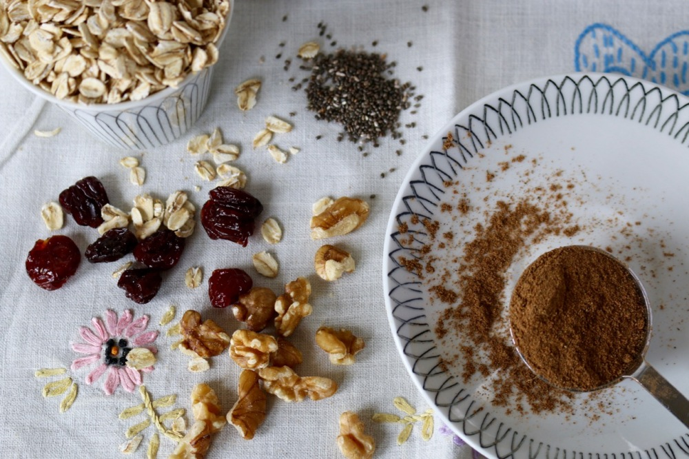 ingredients for chai oatmeal mix