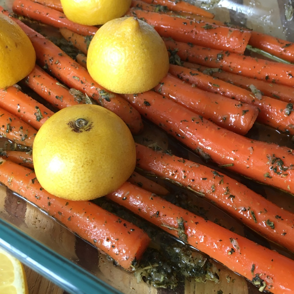 prepping green tea roasted carrots
