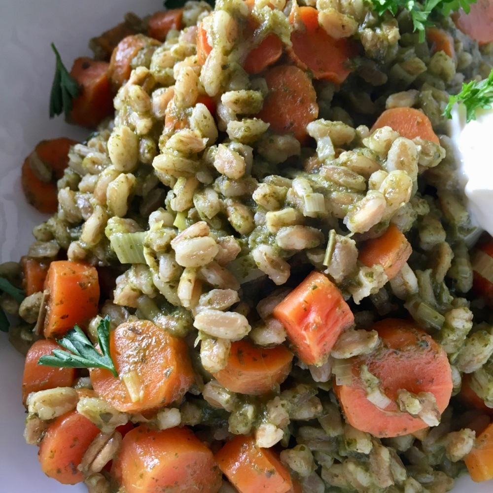 farro risotto with tea roasted carrots