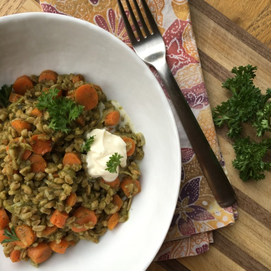 tea roasted carrot and farro risotto