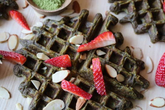 matcha waffle with strawberries